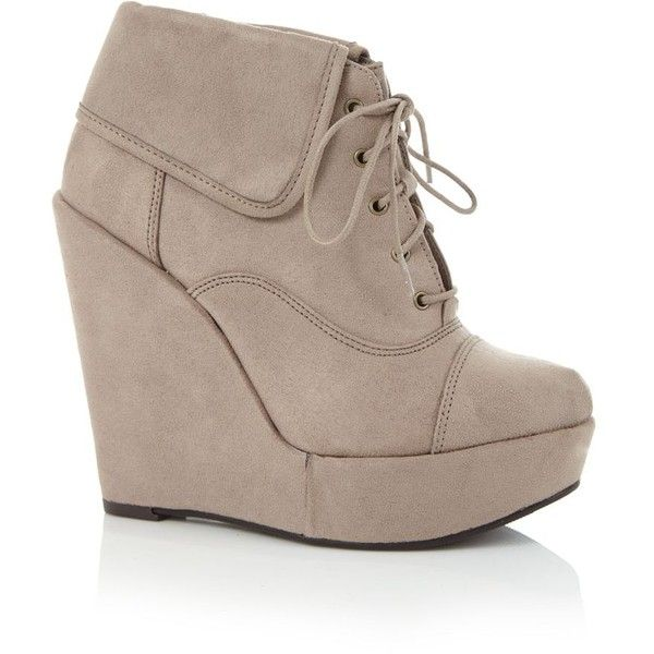 225054ee3aa Light Brown Lace Up Wedge Ankle Boots ($16) ❤ liked on Polyvore featuring  shoes, boots, ankle booties, wedges, heels, ankle boots, heeled ankle boots,  lace ...