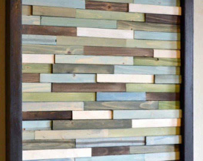 Arte de pared de madera náutica-blues de pared moderna de Paneles - pared de madera