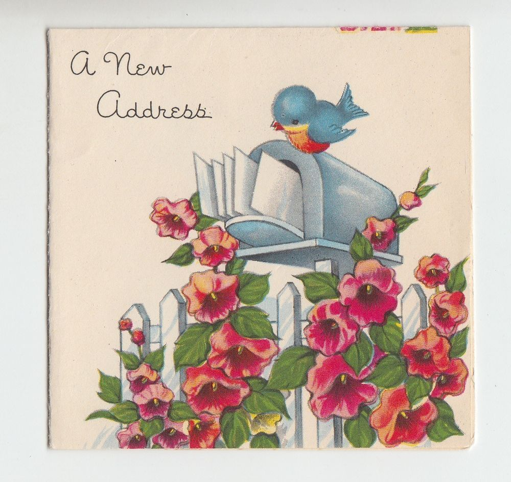 Vintage a new address greeting card with a bluebird on a mailbox collectible vintage greeting cards ebay m4hsunfo Image collections