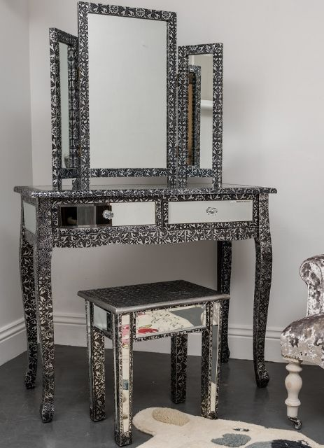 Mirrored Vanity Table And Stool: This Glass Top Dressing Table With Matching Stool And