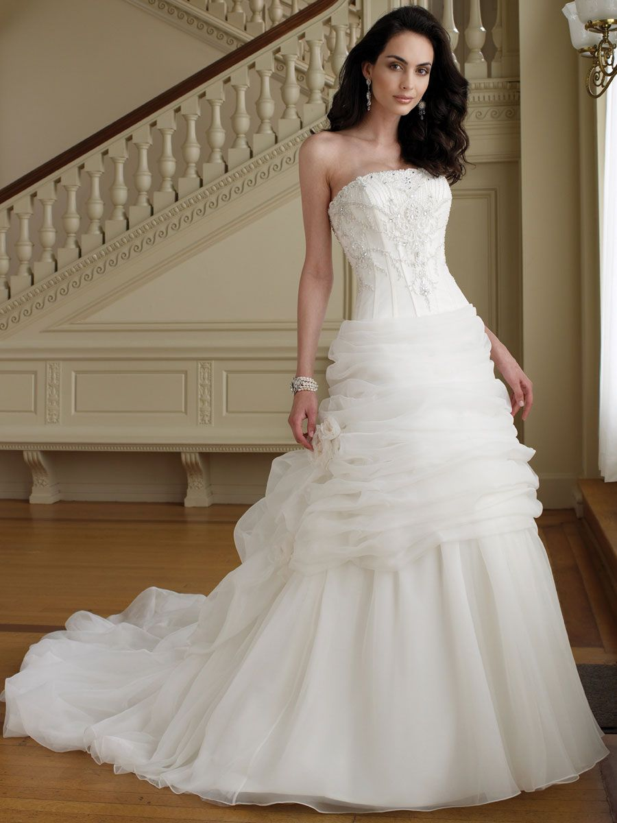 the perfect wedding dress Slimming Perfect Beaded Strapless Organza Ball Gown Wedding Dress with Draped Underskirt