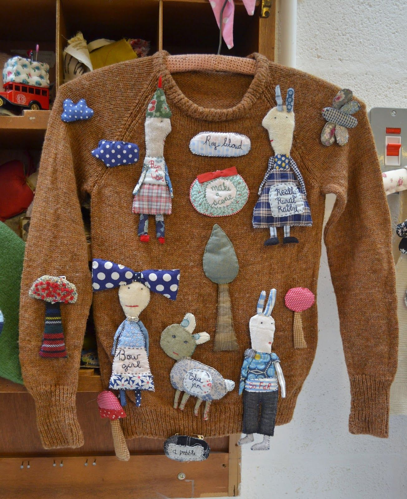 A cleaver way to display some handmade pins/brooches.