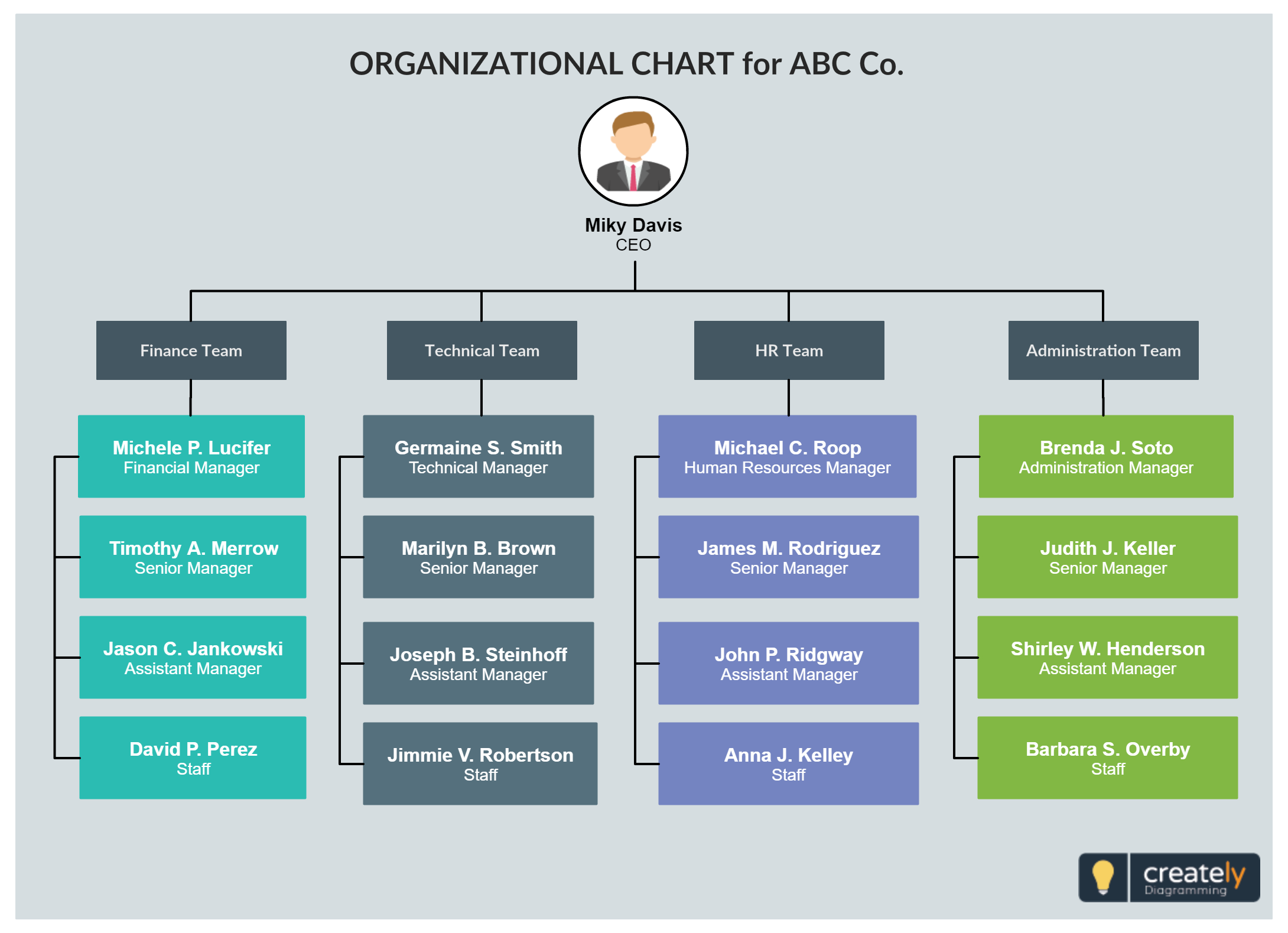Org Chart Template For Company Or Organization Easily Editable A Include Finance Team Tech Hr And Administration