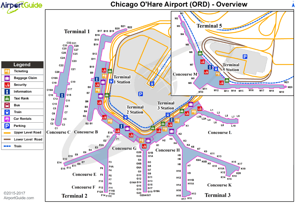 o hare airport car rental map Chicago O Hare International Airport Kord Ord Airport Guide o hare airport car rental map