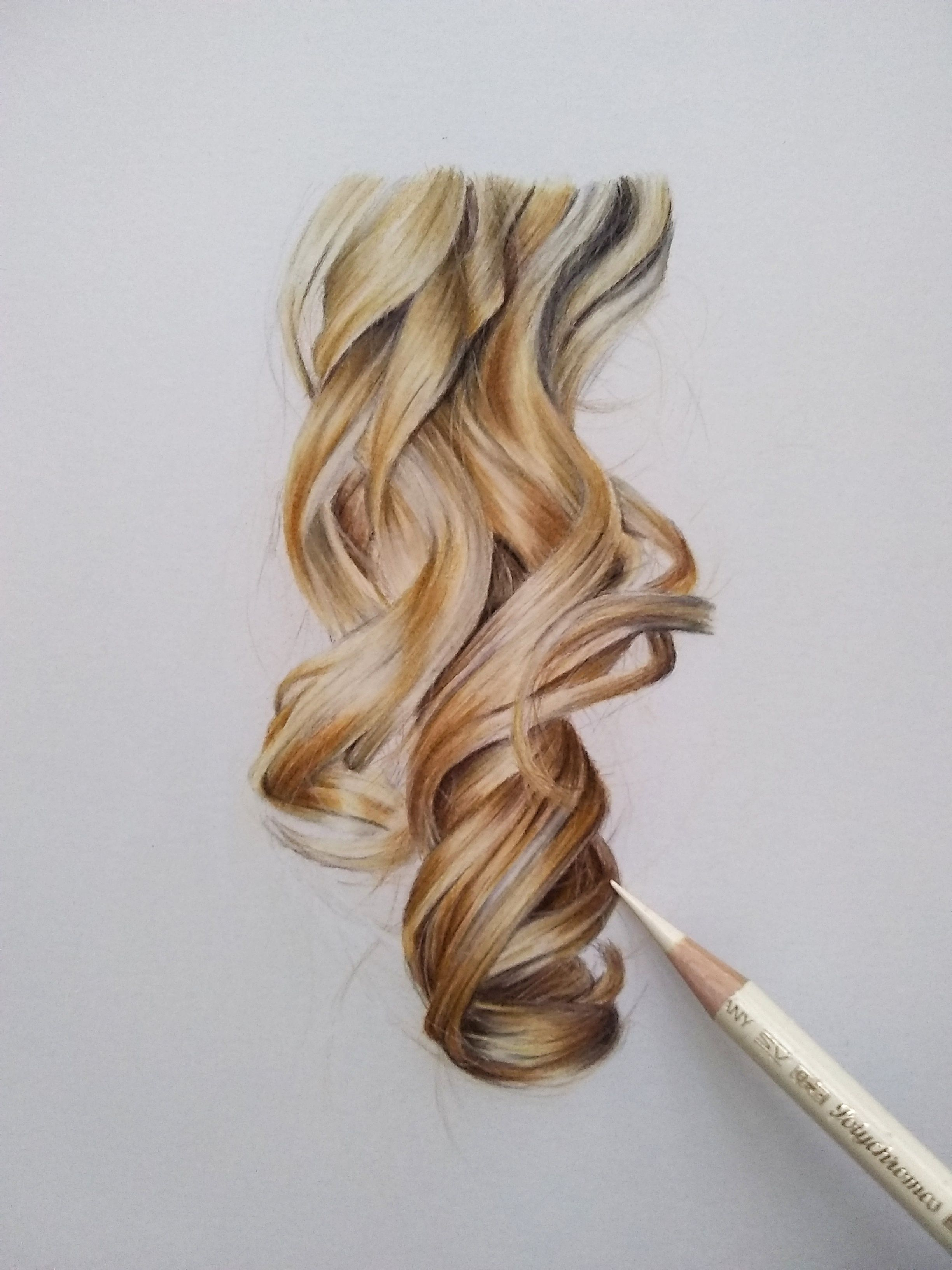 Learn How To Draw Blonde Curls In Colored Pencils Realistic Hair Drawing Color Pencil Drawing How To Draw Hair