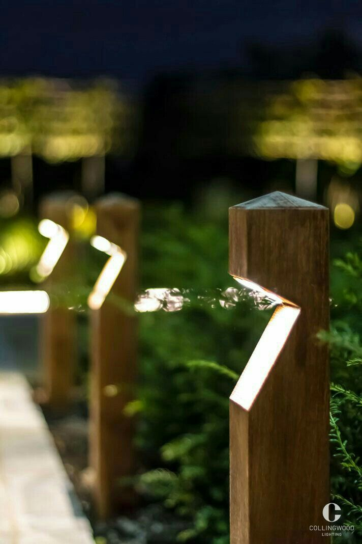 Rustic Wooden Path Lighting Similar To The Ones At