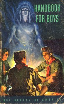 5th Edition Cover, Second Variant  1948-59.  The cover picture was changed because of the BSA switch from campaign hats to overseas caps.  Campaign hat remained optional.  All back covers had a US bike tire ad.