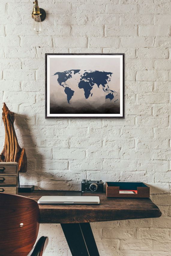 Navy world map print ombre art watercolor map wall art map navy world map print ombre art watercolor map wall art map world map poster ombre watercolor travel map travel print gumiabroncs Choice Image