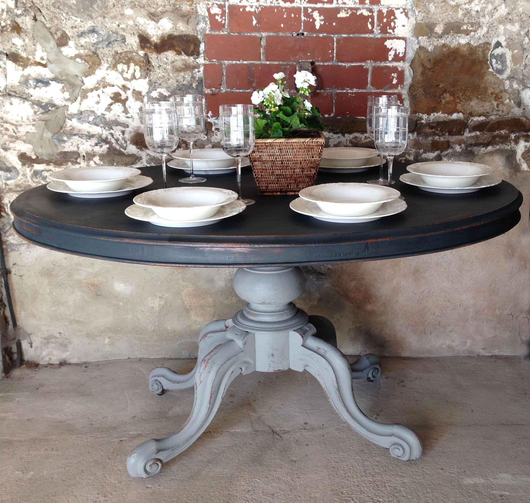 Sold - Oval Antique Painted Dining Table. www.sallywhitedesigns.com
