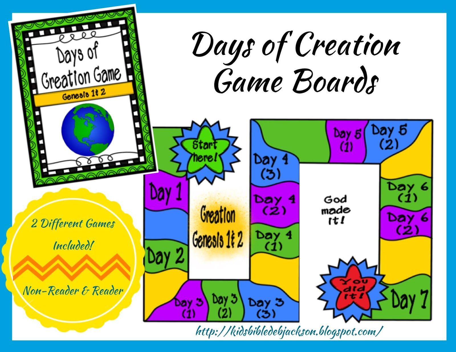 The Creation For Kids Day 3 Days Of Creation Printable Game Board