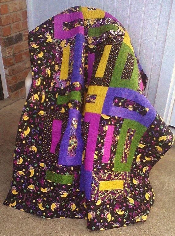 Mardis Gras Lap Quilt by SamBabyStudio on Etsy, $125.00