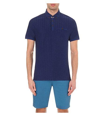 TED BAKER Sallsa Flat-Knit Jacquard Polo Shirt. #tedbaker #cloth #tops & t-shirts