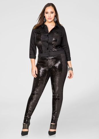 Sequin Front Coming And Going Skinny Jean