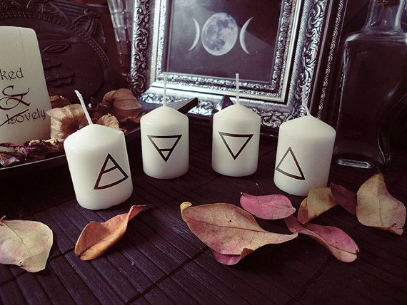 4 Elements Candles, Air Earth Water Fire, Elemental Candles, The Element Collection, Altar Candles ~~~~~~~~~~~~~~~~~~~~~~~~Behind the