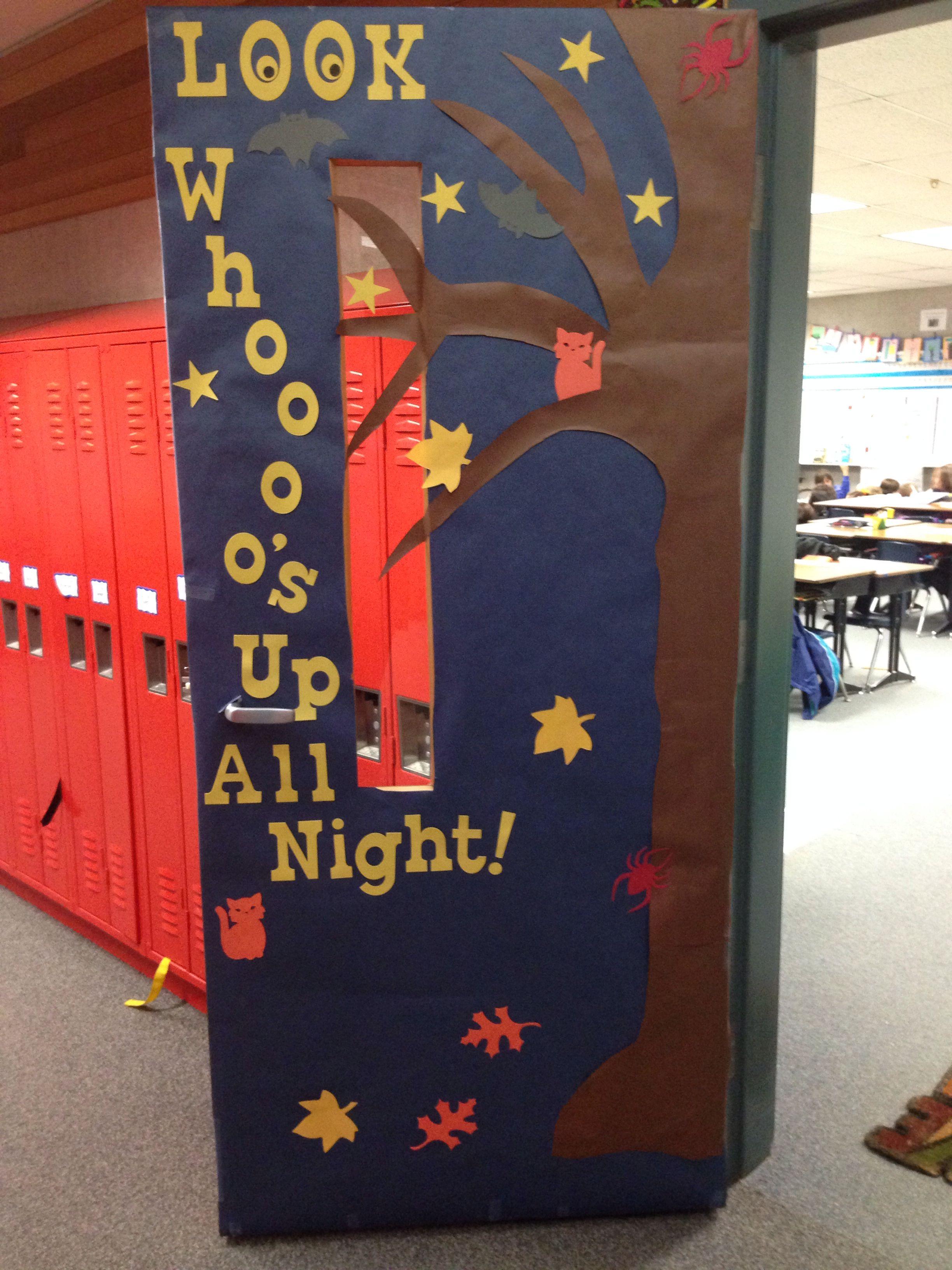 Classroom Door Design ~ Look whoooo s up all night classroom door design for