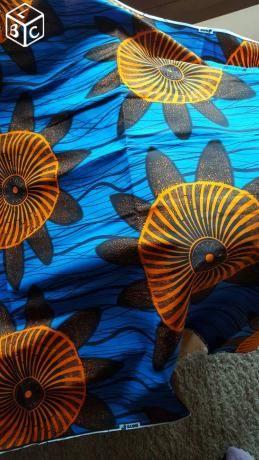 tissus wax bleu et orange