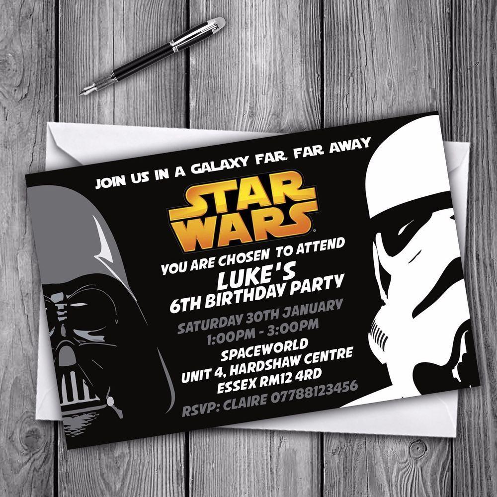 Personalised Star Wars Invitations Party Invites Free Envelopes Ebay Star Wars Birthday Party Star Wars Invitations Free Star Wars Invitations