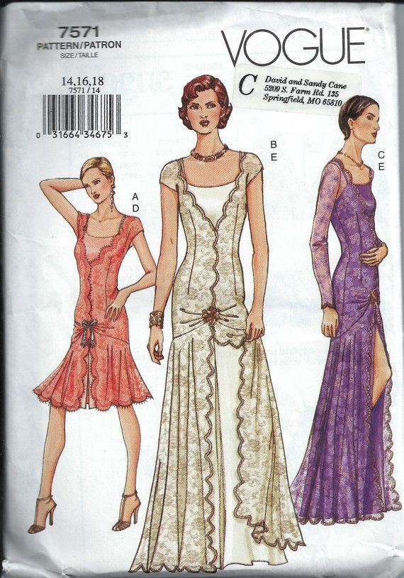 Gorgeous 1920\'s Style Flapper Dress Pattern, Vogue 7571, Size 14-16 ...