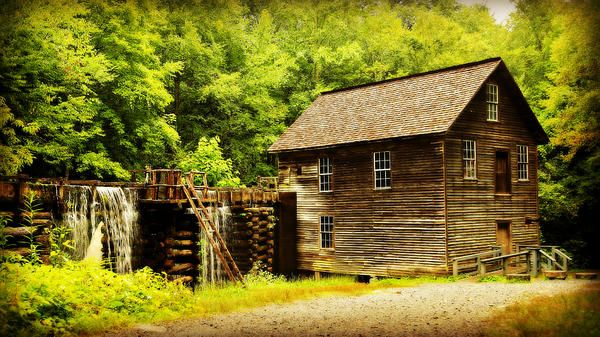 The historic Mingus Mill still operates in its original location, educating visitors to the Oconaluftee region of Great Smoky Mountains National Park. Photo by Stephen Stookey of Fine Art America