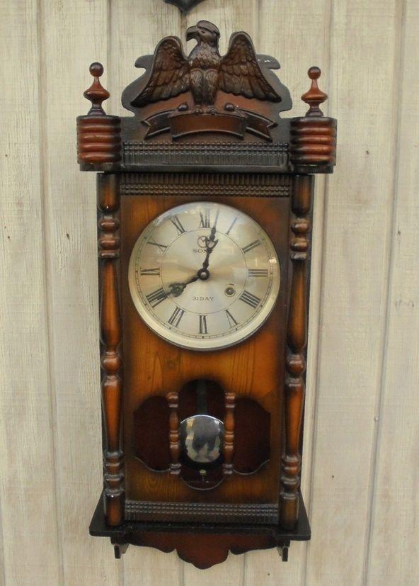 vintage ornate wood case key wind sony wall clock carved