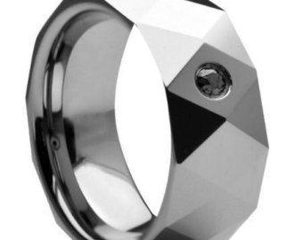 Tungsten Band, Black Diamond Ring, Diamond Band, Mens Band,Tungsten Wedding Band, Tungsten Wedding Ring, Comfort fit, Mens Engagement  Ring