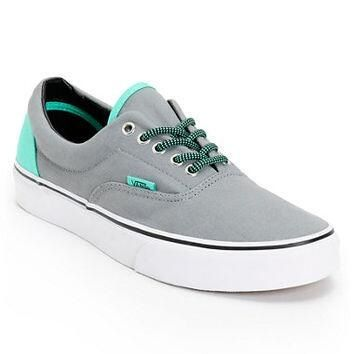 Teal and grey vans | Vans, Canvas shoes