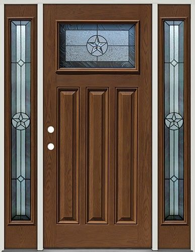Pre Finished Oak Fiberglass Door With Sidelites Craftsman Star #30    Another Great Front Entry Door Deal From Door Clearance Center