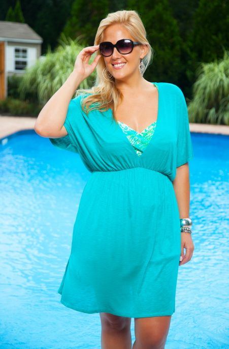 Sleek and sexy Always For Me Cover Silky V-Neck plus size tunic cover up dress. This cover up will make you look and feel young and sophisticated. Soft stretchy fabric provides the right coverage for t