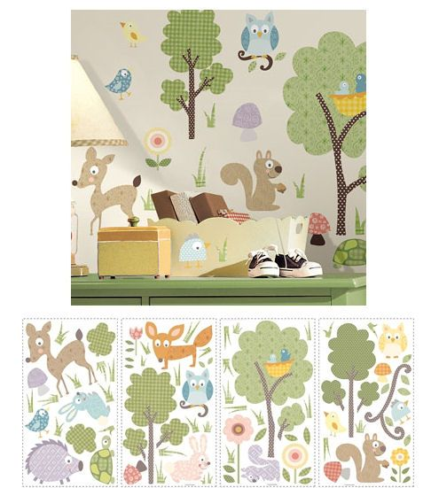 Woodland Animals Peel And Stick Wall Stickers   Wall Sticker Outlet