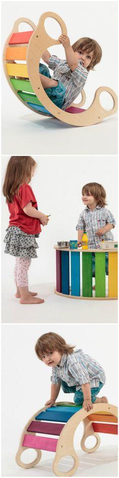 regenbogenwippe f r das kinderzimmer geschenkidee spielzeug aus holz wooden toy for children. Black Bedroom Furniture Sets. Home Design Ideas
