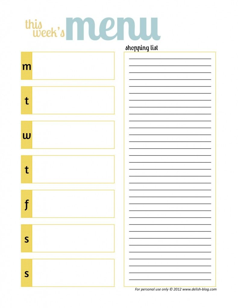 MEAL IDEAS/RECIPES. Meal Planner PrintableMeal Planner TemplateMenu ...  Menu Planner Template Printable
