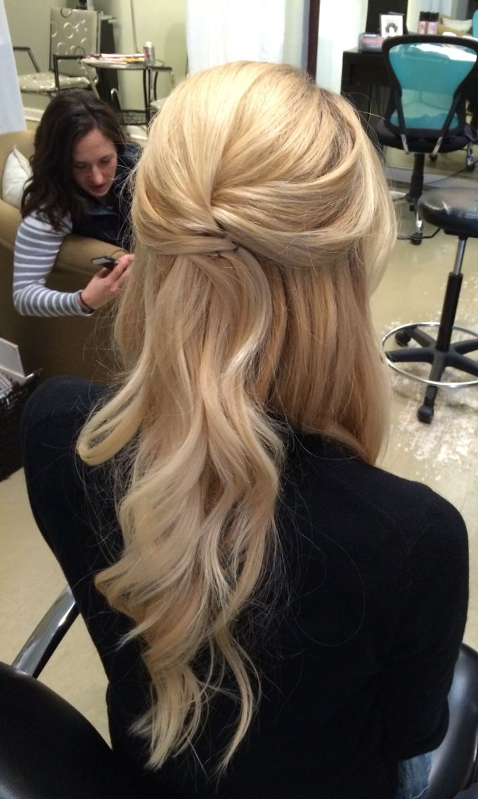 Elegant And Simple Half Up Down Style With Loose Curls Updo