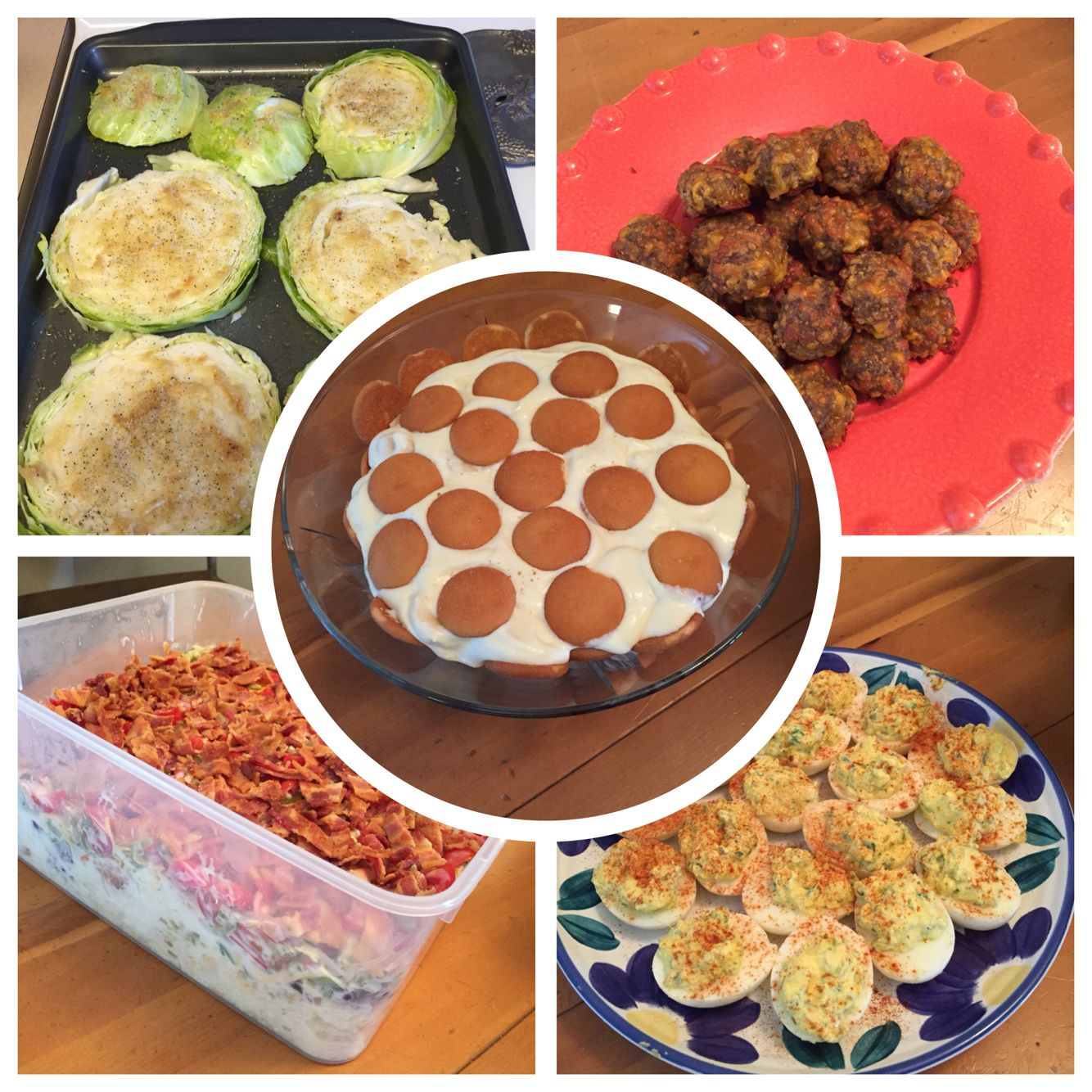 Cabbage Steaks, sausage balls, deviled eggs, cornbread salad, banana pudding....yummy!