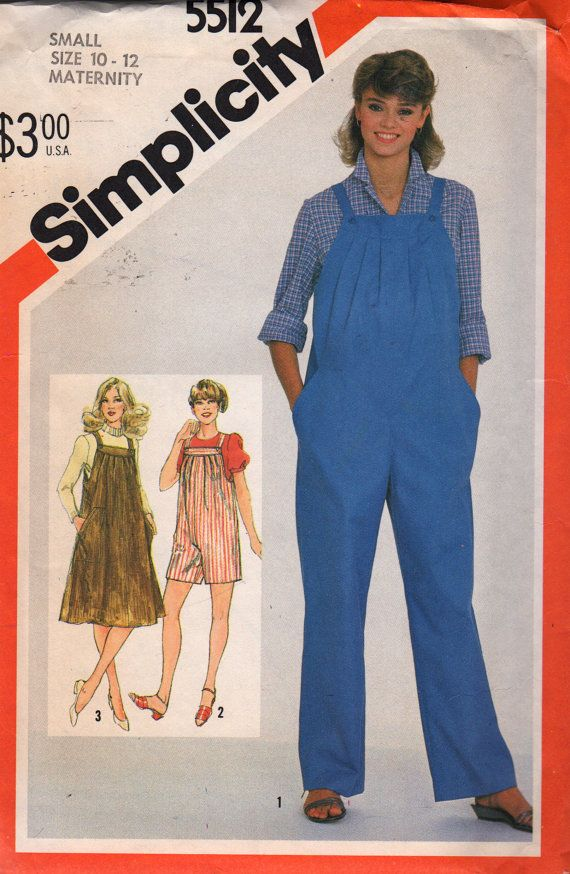 Simplicity 5512 1980s Misses Maternity Overalls Jumpsuit
