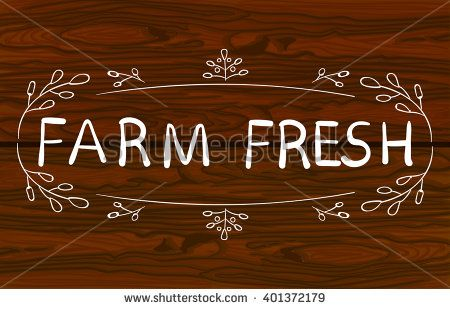 Typographic VECTOR element. Vignette with leaves. Hand drawn element on wooden background. FARM FRESH food sign for menu or farmers market.  - stock vector