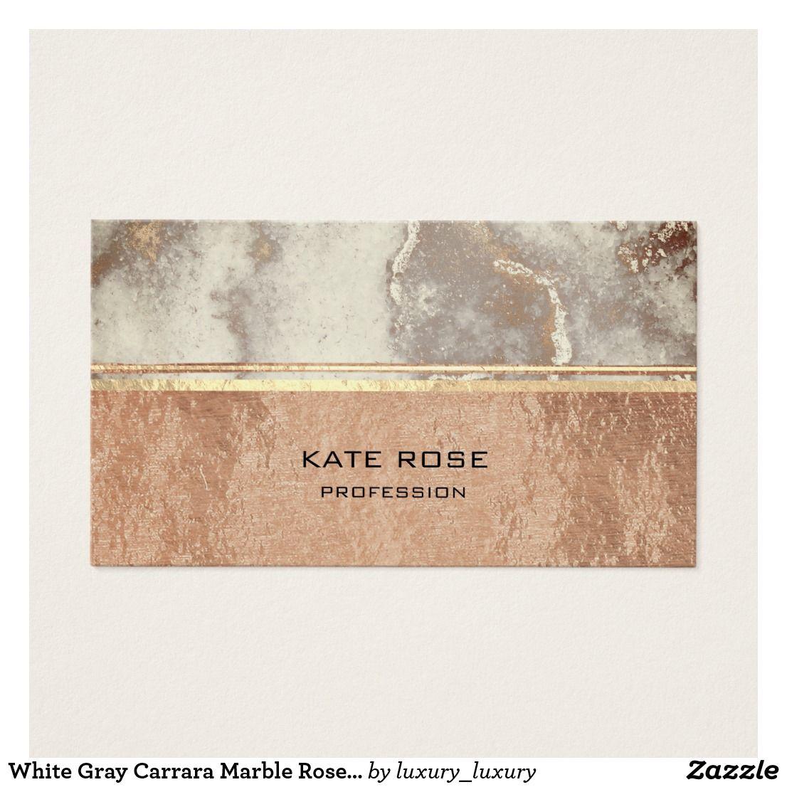 White gray carrara marble rose gold makeup copper business card white gray carrara marble rose gold makeup copper business card colourmoves Images
