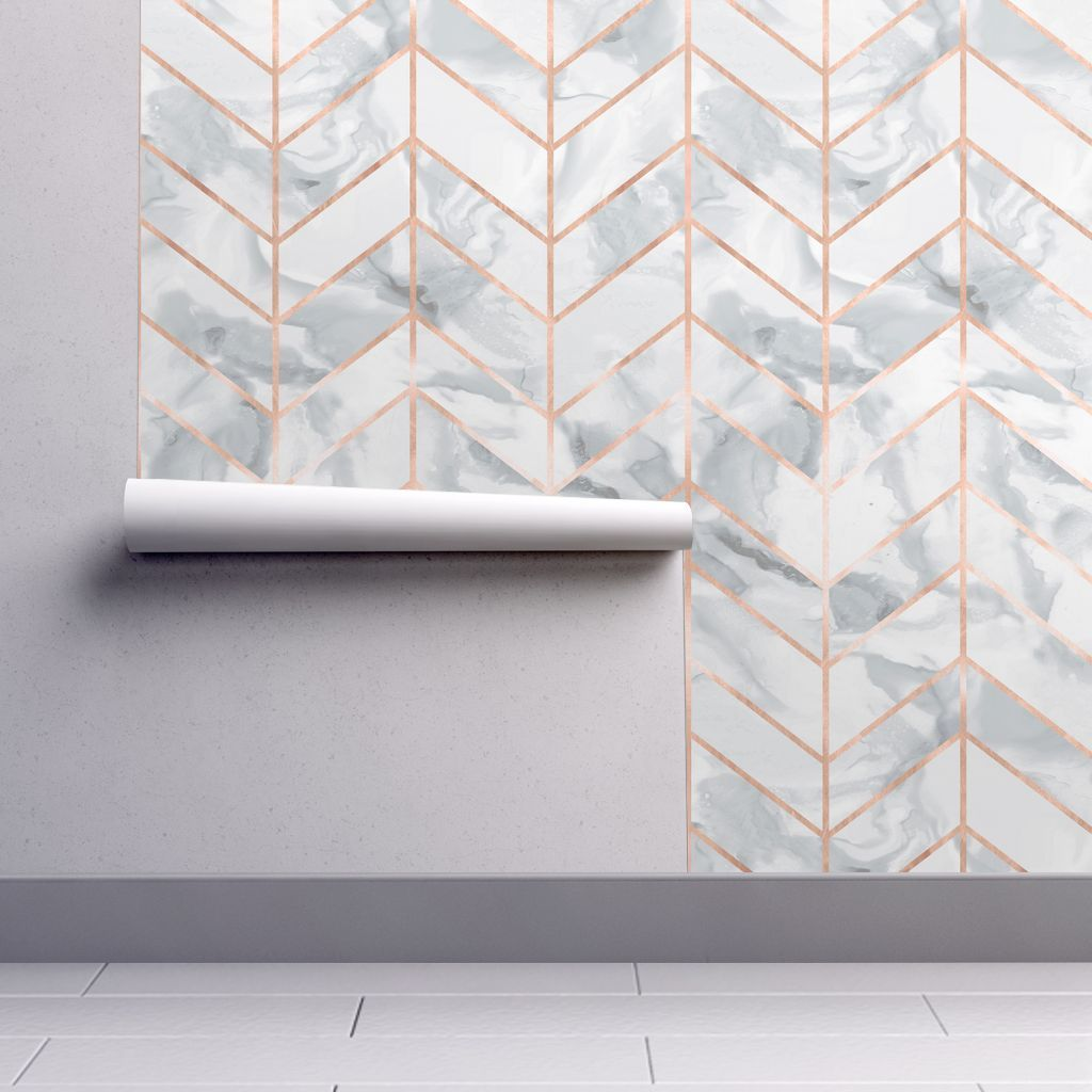 Best Carrera Marble Herringbone Rose Gold Wallpaper By 640 x 480
