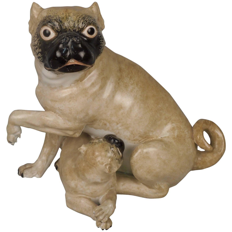Chamberlain Worcester Porcelain 1 Animal Sculpture 19th Century
