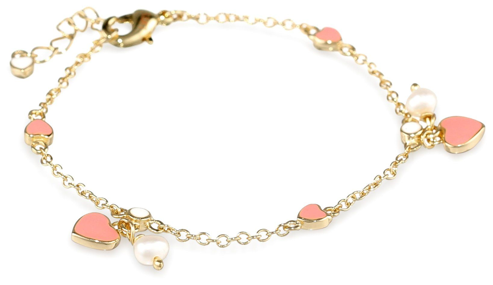 Little Miss Twin Stars Girls' Pink Hearts and Fresh Water Pearls Vermeil Chain Charm Bracelet, 5.5""