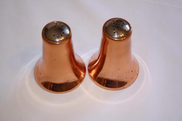 "Copper Salt/Pepper shakers minor wear 3"" x 2 1/4""D x 1 1/4"