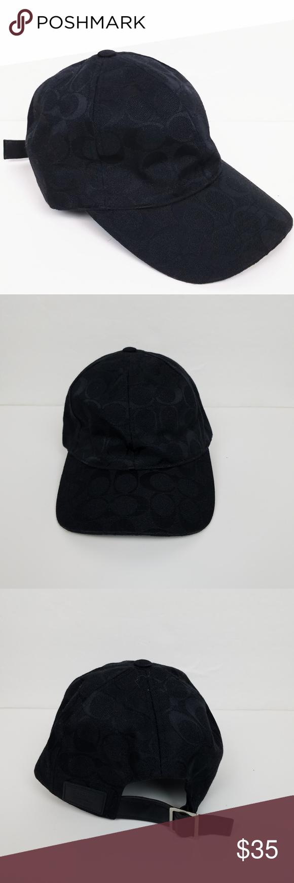 Coach Signature Black Hat Cap Black baseball cap with adjustable strap.  Signature logo throughout. Brand new. Never worn. Excellent condition. c05223fa26e