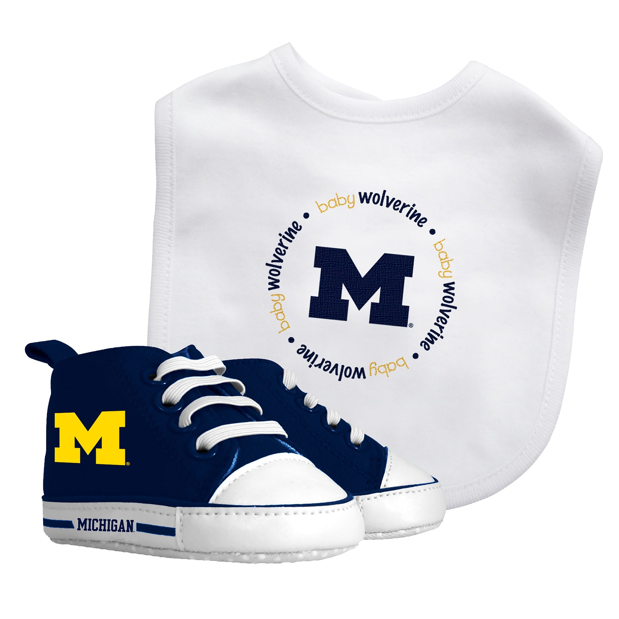 Baby Fanatic Michigan Wolverines Bib and Pre walker Shoes Gift Set