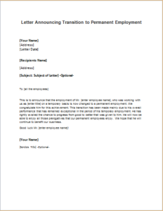 Letter Announcing Transition To Permanent Employment Download At