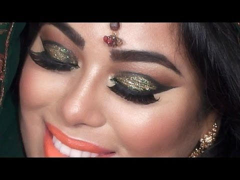 Indian Bridal Makeup Tutorial Green And Gold Glitter Eyes You