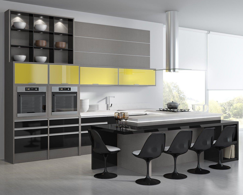 Cozinha cinza preta e amarela Cozinha cinza