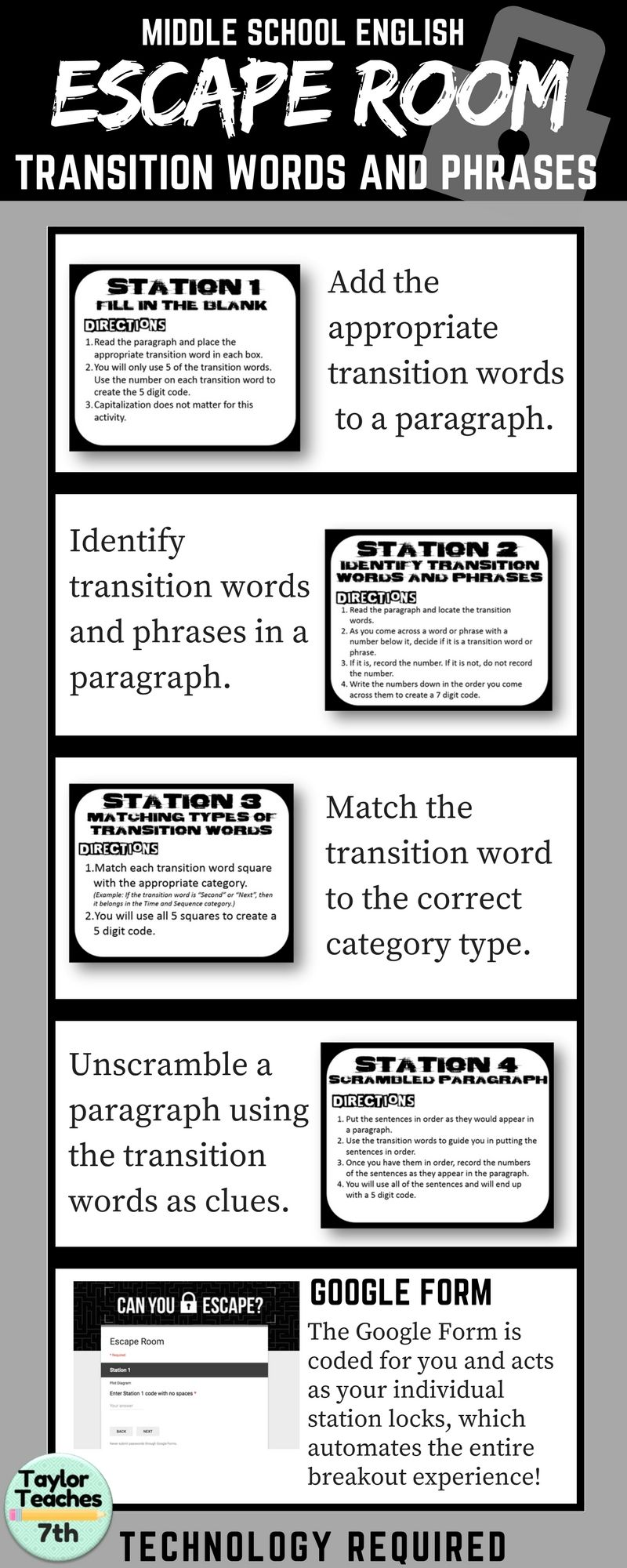 Workbooks transition worksheets for middle school : Transition Words - Escape Room - Middle School English | Social ...