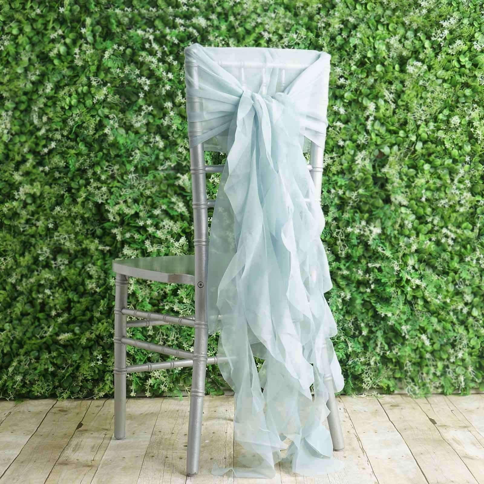 1 Set Ice Blue Chiffon Hoods With Curly Willow Chiffon Chair