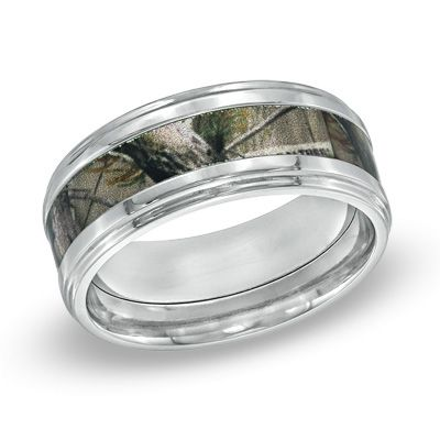 Men\'s RealTreeAP™ Camouflage Inlay Comfort Fit Titanium Wedding Band ...