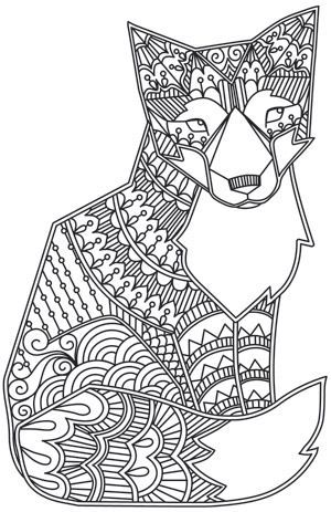 doodle fox design coloring page coloring pages colouring adult detailed - Art Therapy Coloring Pages Animals