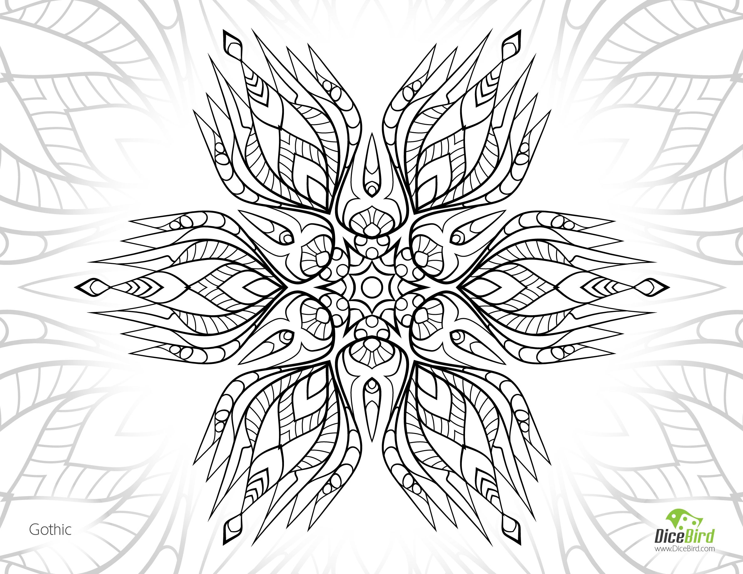 Gothic flower, http://dicebird.com/gothic-flower-free-adult-coloring-pictures/